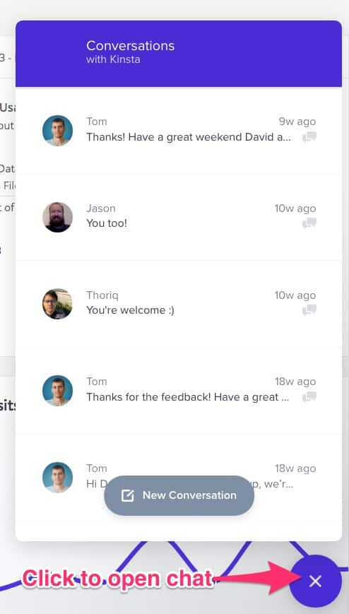 Kinsta support chat window