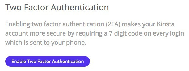 Kinsta two-factor authentication (2FA)