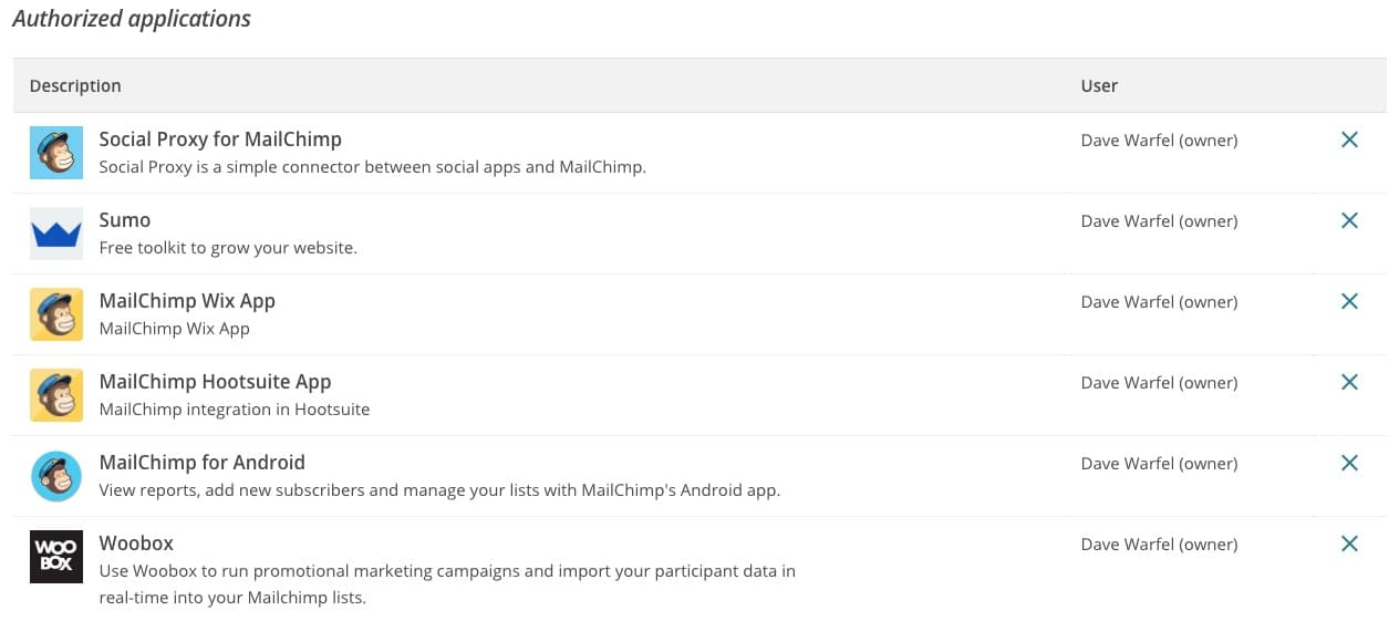 MailChimp API key authorized applications