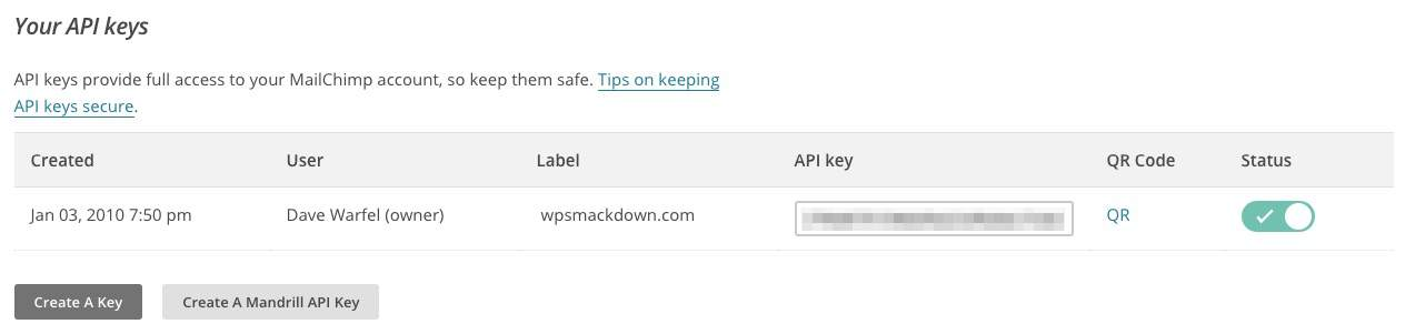 Your MailChimp API keys