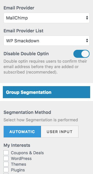 MailOptin MailChimp list settings