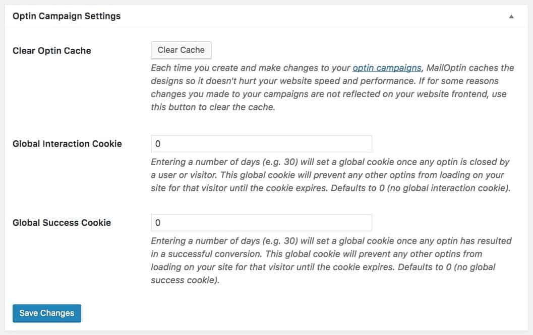 MailOptin Opt-In Campaign Settings