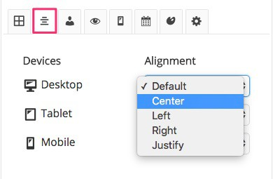WordPress Widget Options alignment options