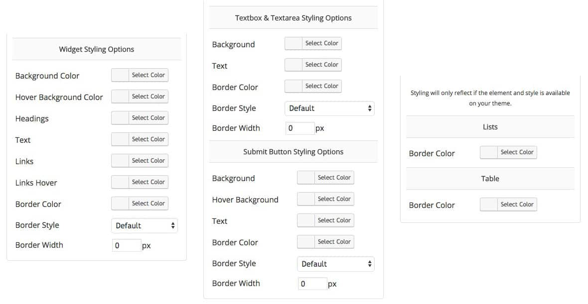 Custom styling options for WordPress widgets