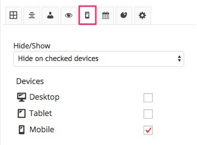Widget Options visibility settings