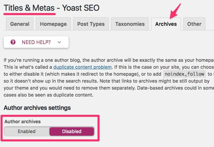 Disable author archives in Yoast SEO