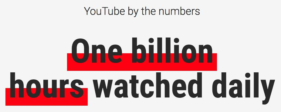 YouTube stats - 1 billion hours watched daily