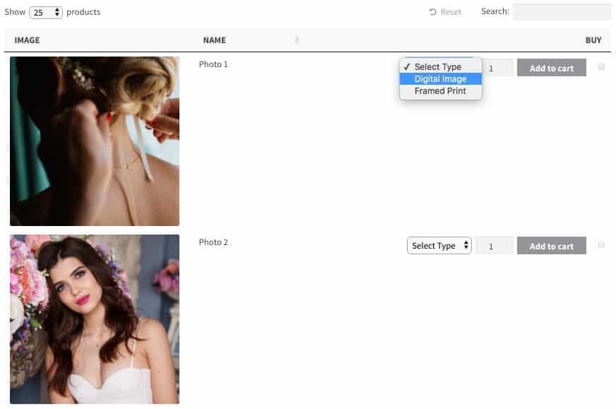 WooCommerce photo gallery table plugin