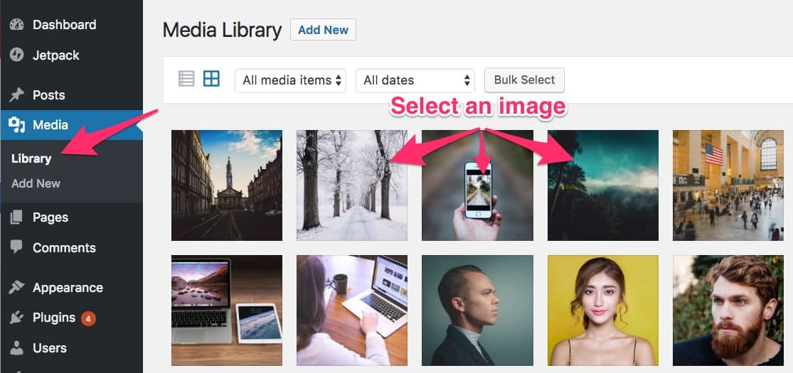 Select an image in WordPress media library