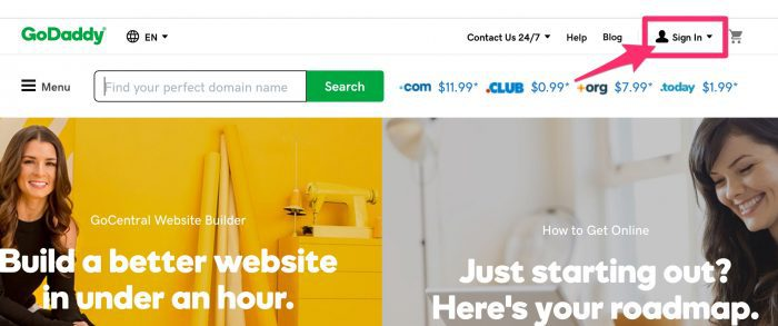 GoDaddy sign in link in header
