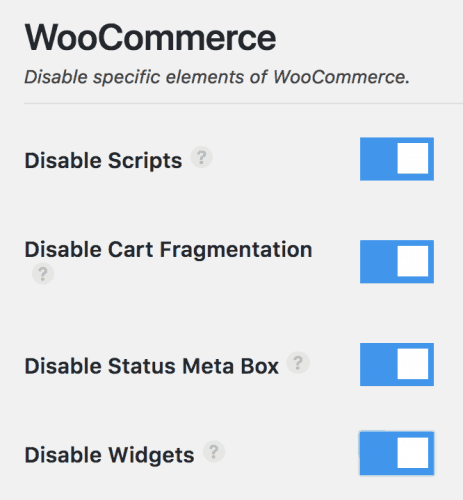 Perfmatters WooCommerce options