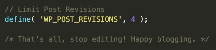 WordPress limit post revisions code