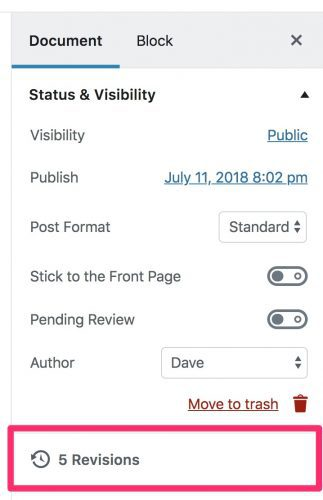WordPress revisions link in 5.0