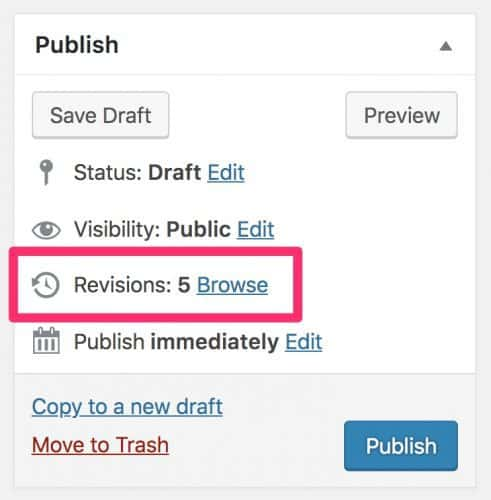 WordPress revisions on the post edit screen
