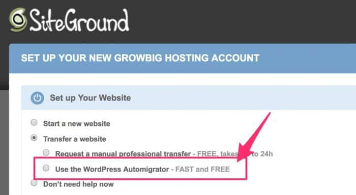 Choosing SiteGround's WordPress migrator option