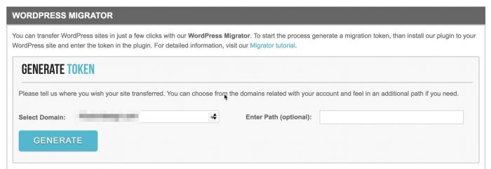 SiteGround WordPress Migrator generate token page
