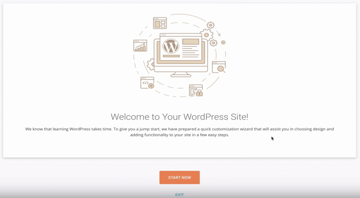 SiteGround WordPress setup wizard, step 0