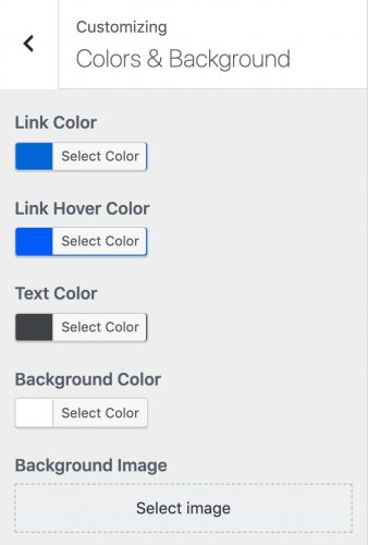 Neve theme color & background options