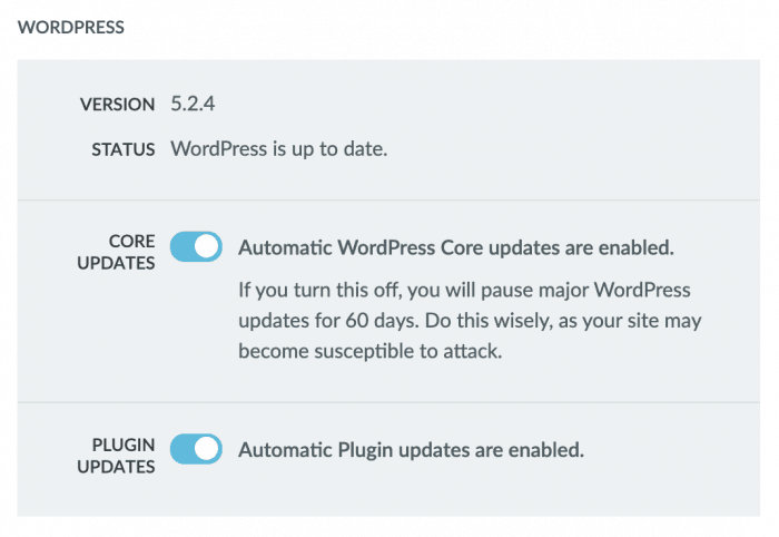 Liquid Web automatic WordPress updates options