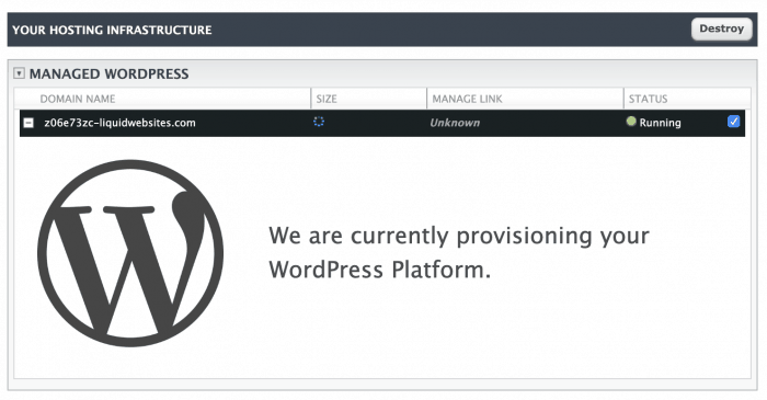 Liquid Web provisioning WordPress account message