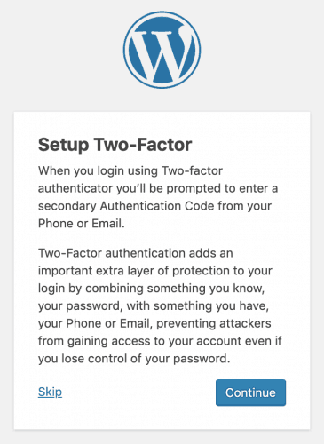 Liquid Web's two-factor authentication prompt screen