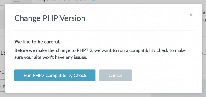 Liquid Web PHP compatibility check message